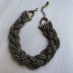 Vintage Braided Brass Statement Necklace